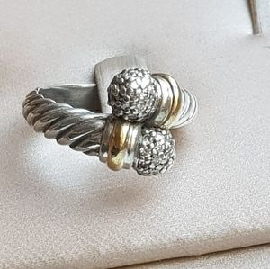 David Yurman Diamond Dome Bypass Ring With Gold